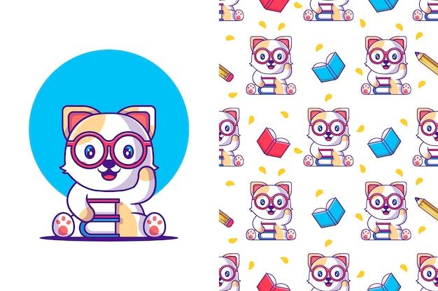 Gato bonito dos desenhos animados de padrão sem emenda com livro