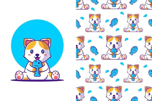 Gato bonito dos desenhos animados de padrão sem emenda segurando um peixe