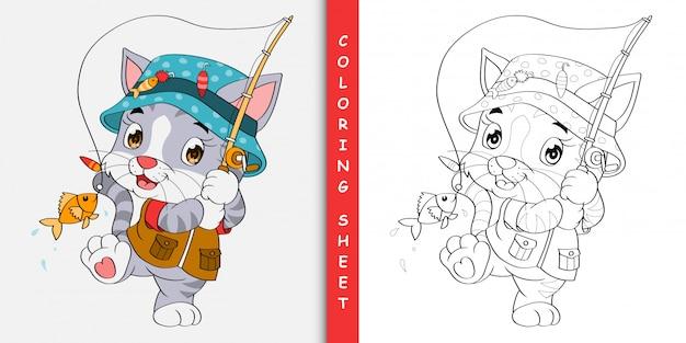 Gato bonito dos desenhos animados de pesca, folha para colorir
