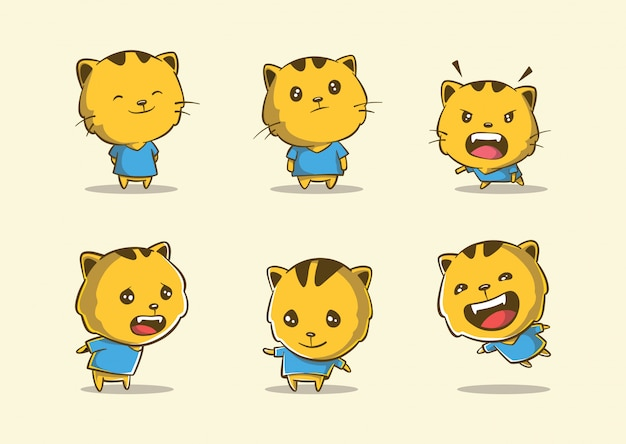 Gato bonito dos desenhos animados desenhados à mão