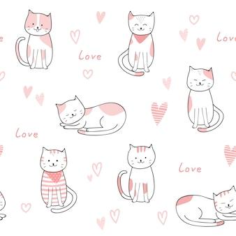 Gato bonito dos desenhos animados doodle padrão sem emenda pastel