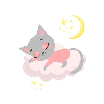 Gato bonito dos desenhos animados dormindo numa nuvem.