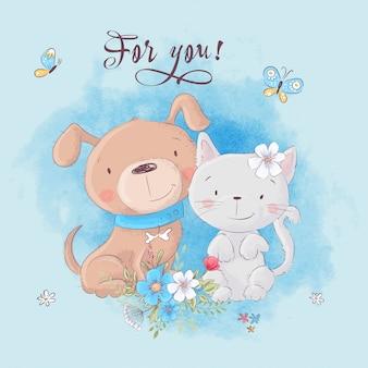 Gato bonito dos desenhos animados e cachorro com flores