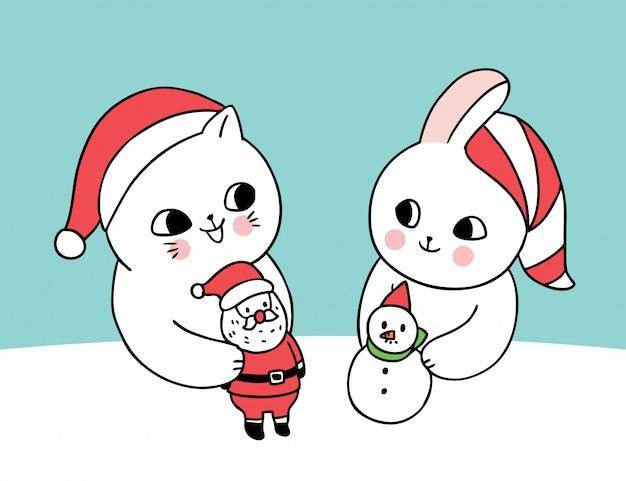 Gato bonito dos desenhos animados e coelho jogando bonecas de natal