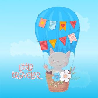 Gato bonito dos desenhos animados e pássaro está voando no balão