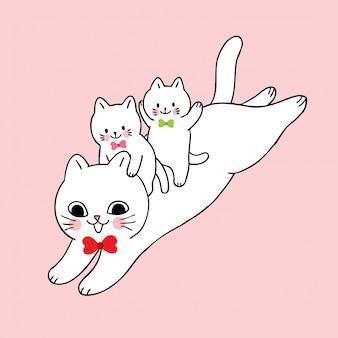 Gato bonito dos desenhos animados e vetor de salto do bebê.
