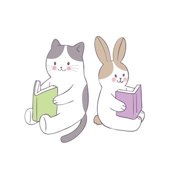 Gato bonito dos desenhos animados e vetor do livro de leitura do coelho.