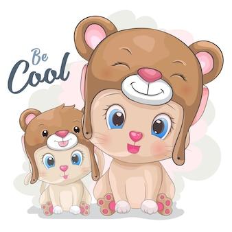 Gato bonito dos desenhos animados em um chapéu de urso