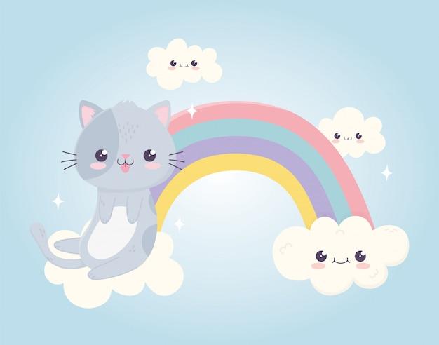 Gato bonito dos desenhos animados kawaii com língua de fora nas nuvens do arco-íris