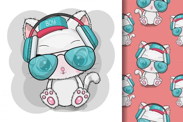 Gato bonito dos desenhos animados legais com óculos de sol e fones de ouvido