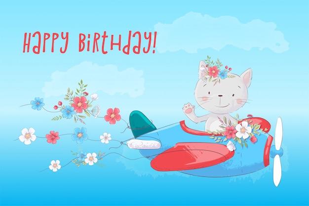 Gato bonito dos desenhos animados no avião com cartão de flores