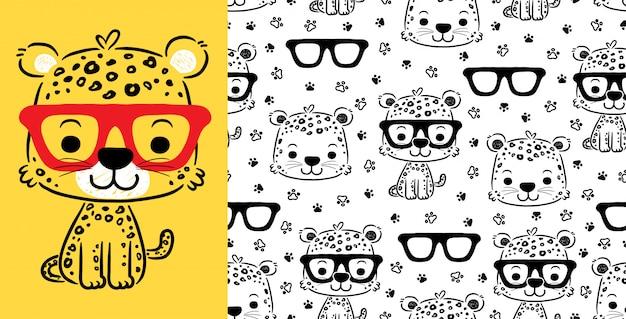 Gato bonito dos desenhos animados no padrão sem emenda