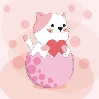 Gato bonito dos desenhos animados no personagem animal de desenho de ovo