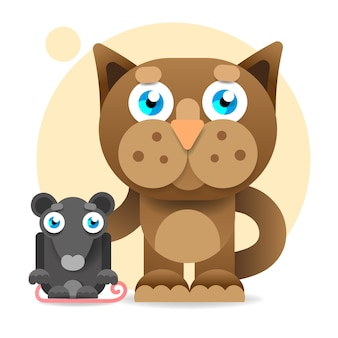 Gato bonito dos desenhos animados, olhando para o rato