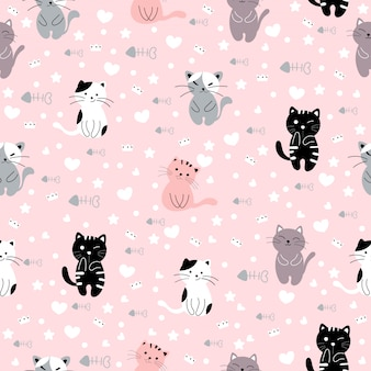 Gato bonito dos desenhos animados padrão sem emenda animal