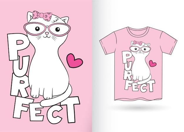 Gato bonito dos desenhos animados para t-shirt