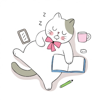 Gato bonito dos desenhos animados, slepping e livro.