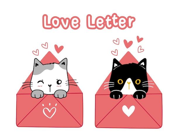 Gato bonito dos namorados preto e branco em carta de amor rosa, ilustração dos desenhos animados doodle vetor desenhado à mão