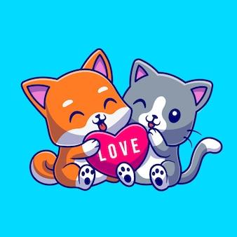 Gato bonito e cachorro segurando a ilustração de ícone de vetor de desenhos animados de coração de amor. conceito de ícone de natureza animal isolado vetor premium. estilo flat cartoon