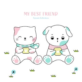 Gato bonito e cão animal mão desenhada estilo