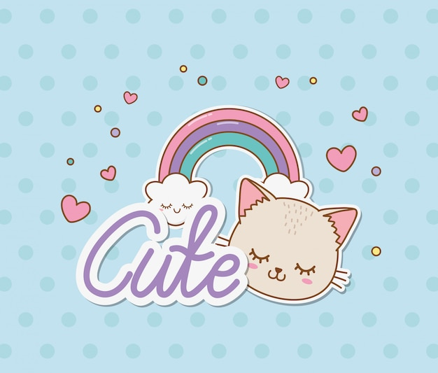 Gato bonito e estilo do kawaii das etiquetas do arco-íris