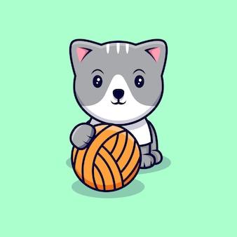 Gato bonito e ilustração do ícone dos desenhos animados de hank. estilo flat cartoon