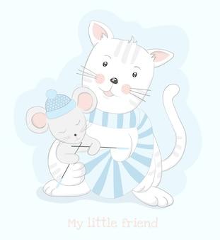 Gato bonito e rato dos desenhos animados tricô cachecol