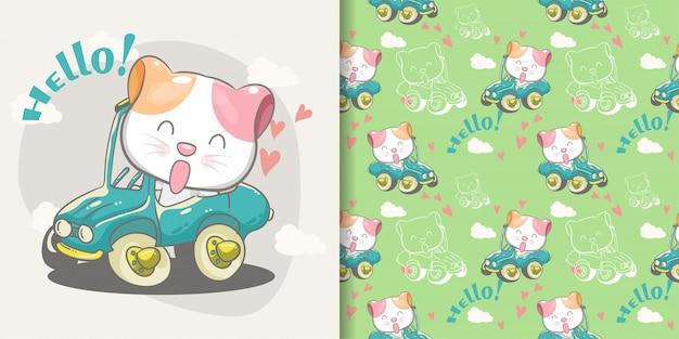 Gato bonito em um padrão sem emenda de carro verde e cartão de ilustração