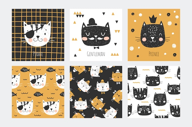 Gato bonito enfrenta cartão de coleção de caracteres e padrão sem emenda para meninos. tricolor