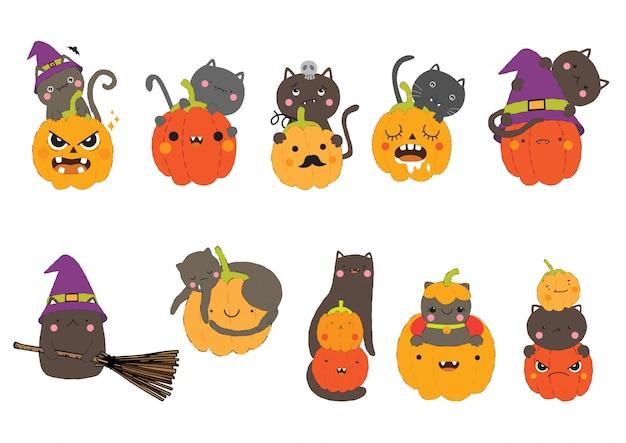 Gato bonito feliz dia das bruxas com conjunto de caracteres de abóbora