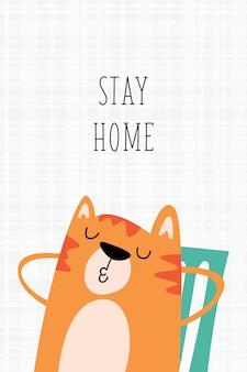 Gato bonito ficar em casa cartoon ilustração de cartaz
