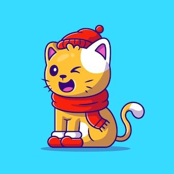 Gato bonito inverno vestindo chapéu, lenço e ilustração dos desenhos animados de sapatos. estilo flat cartoon