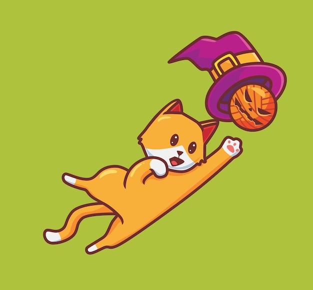 Gato bonito jogando chapéu de feiticeiro. ilustração de halloween animal isolada dos desenhos animados. estilo simples adequado para vetor de logotipo premium de design de ícone de etiqueta. personagem mascote