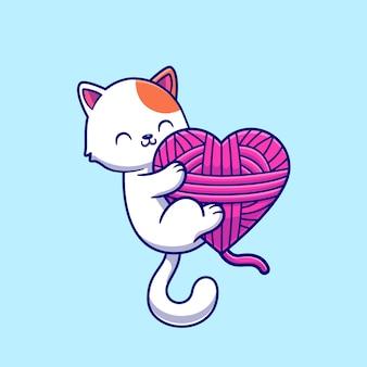 Gato bonito jogando fio bola dos desenhos animados ícone ilustração vetorial. conceito de ícone de natureza animal isolado vetor premium. estilo flat cartoon