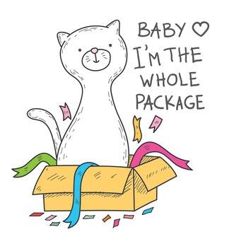 Gato bonito mão ilustrações desenhadas para impressão de camisa de t