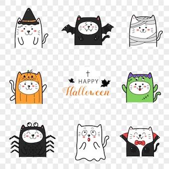 Gato bonito na coleção de desenhos animados de fantasia de halloween.