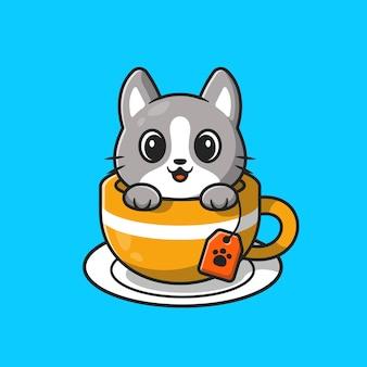 Gato bonito na ilustração do ícone dos desenhos animados do copo de chá.
