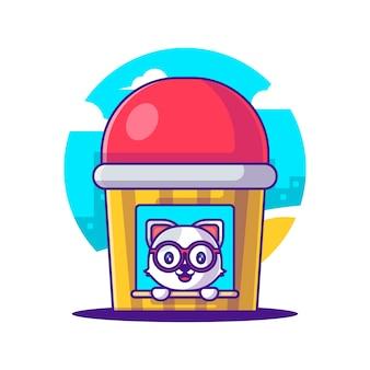 Gato bonito na ilustração dos desenhos animados de casa de lápis. animal and education flat cartoon style concept