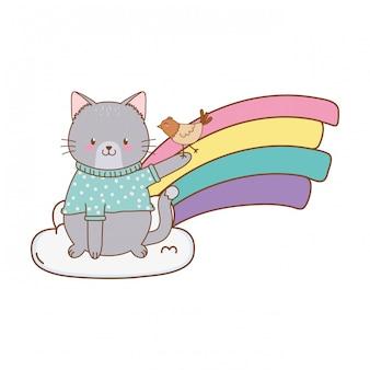 Gato bonito na nuvem com caráter de floresta de arco-íris