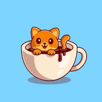 Gato bonito nadando na ilustração do ícone dos desenhos animados do café. bebida animal, conceito de ícone isolado. estilo flat cartoon