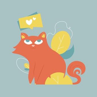 Gato bonito nas folhas. bolha com um coração.