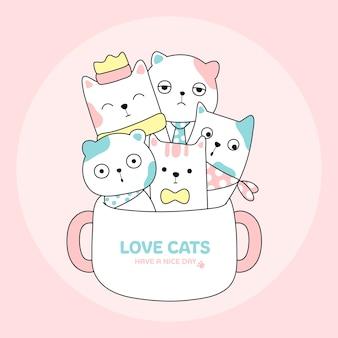 Gato bonito no estilo de mão desenhada de xícara de café animal