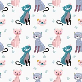 Gato bonito no papel de parede sem emenda de matéria têxtil da tela do teste padrão do fundo azul.
