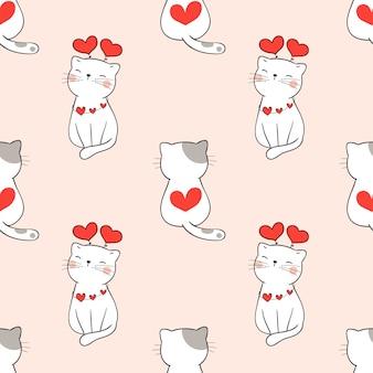 Gato bonito padrão sem emenda com coração para dia dos namorados.