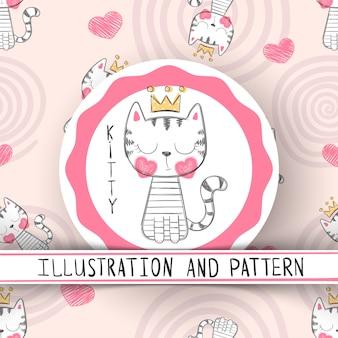 Gato bonito - padrão sem emenda de desenhos animados