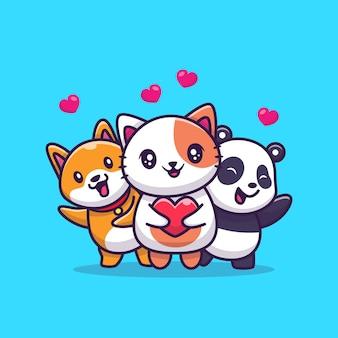 Gato bonito, panda e cão com amor cartoon icon ilustração. conceito de ícone de amor animal isolado. estilo cartoon plana