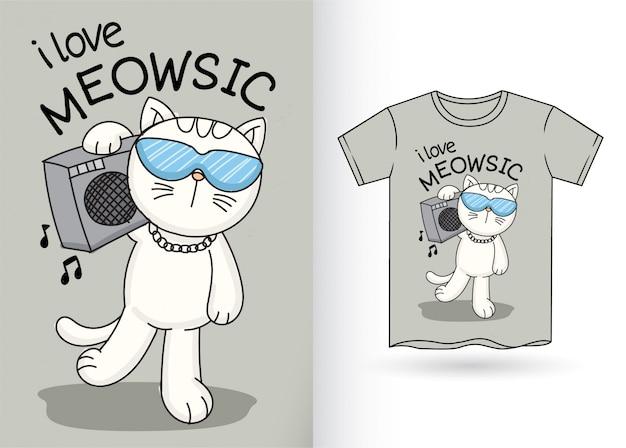 Gato bonito para tshirt