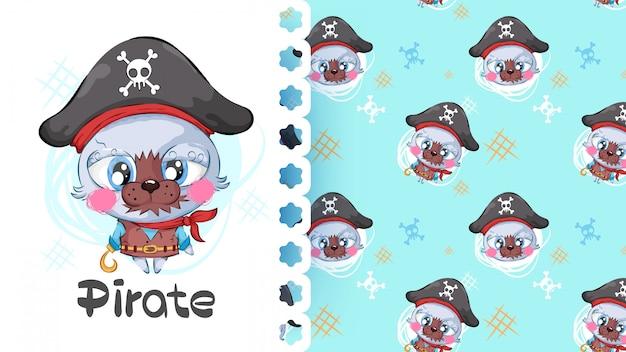 Gato bonito pequeno pirata mulher sem costura padrão