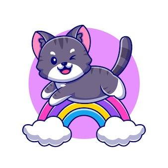 Gato bonito pulando com ilustração do ícone do arco-íris e da nuvem dos desenhos animados.
