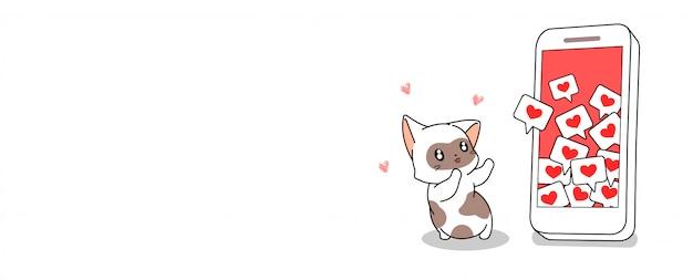 Gato bonito quer coração do social on-line